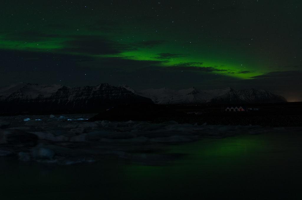 Nordlichter über Jökulsarlon
