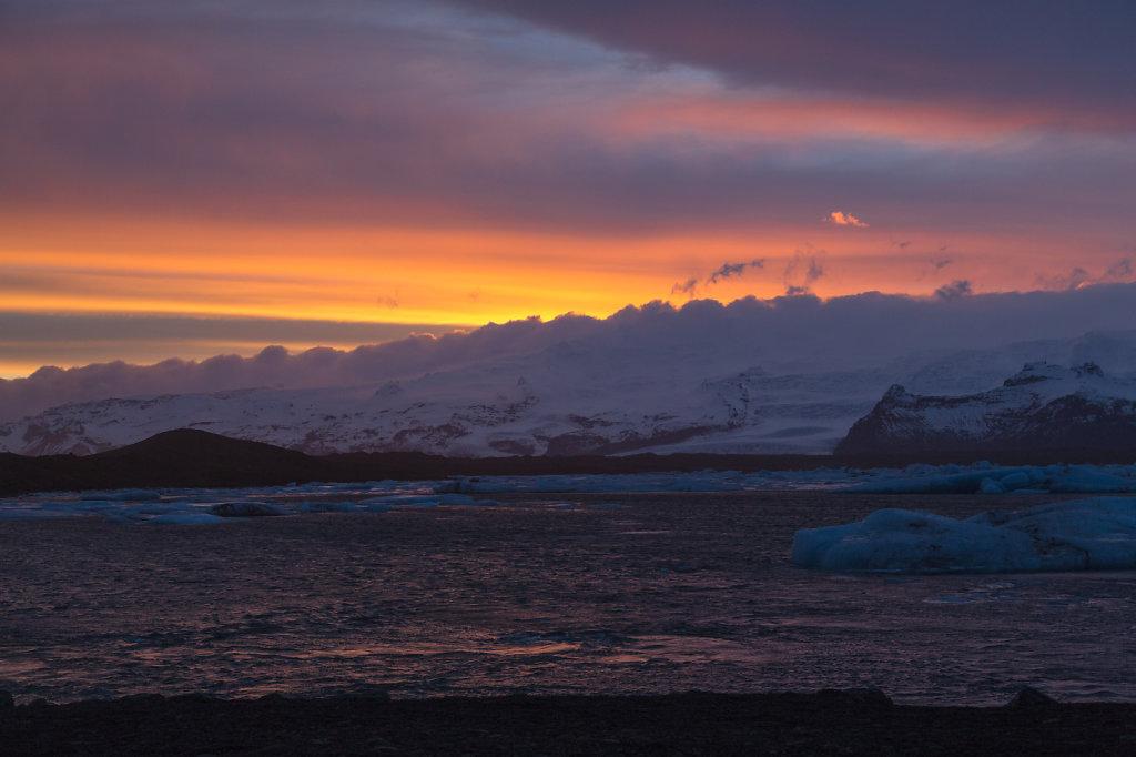 Sonnenuntergang bei Jökulsarlon